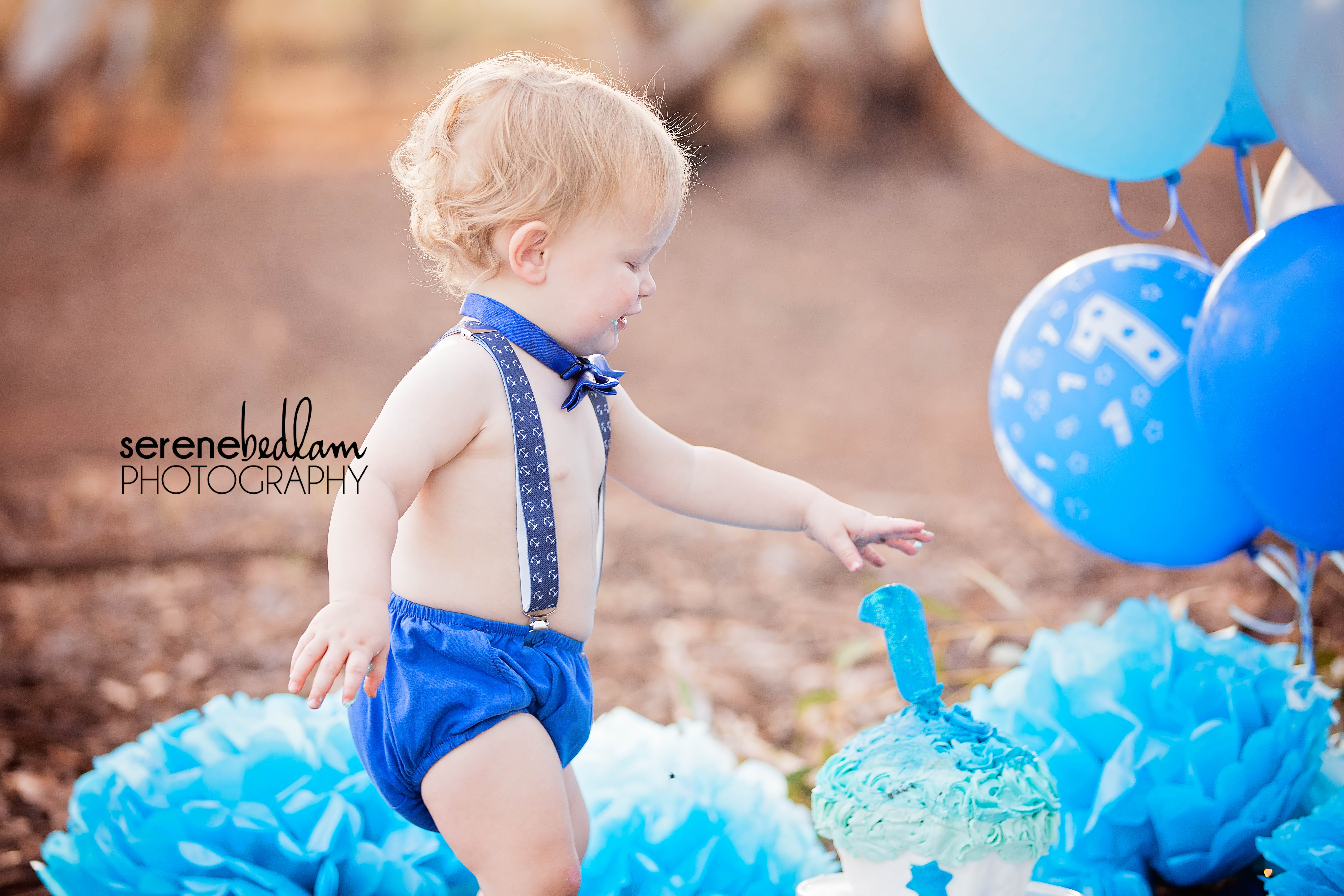 Logan's Cake Smash Outdoors in Newman Serene Bedlam Photography